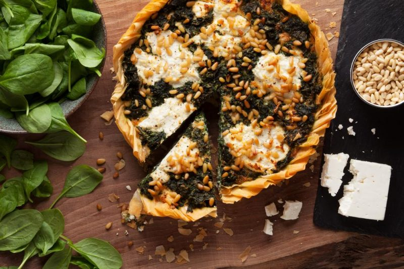 spinach, feta & pine nuts quiche